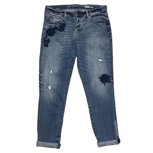Gap Embroidered Distressed Boyfriend Jeans
